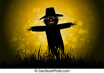 Halloween Background with Scarecrow and Grass