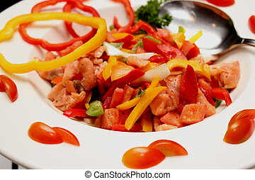 Tomato and salmon salad