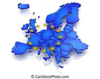 three-dimensional map of Europe.