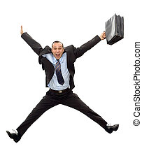 businessman jump - smiling dynamic businessman jumping with...