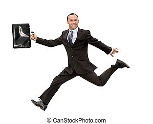 running businessman - smiling dynamic businessman running...