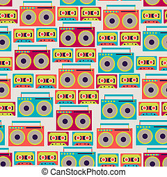 Seamless pattern with tape recorders and audio cassette.