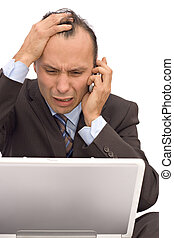 worried businessman - businessman receiving bad news on...