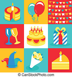 Vector birthday and party icons and signs - collection in...