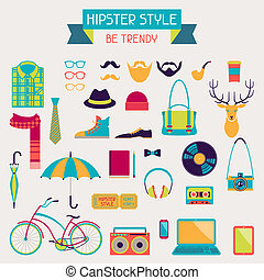 Hipster style elements and icons set for retro design