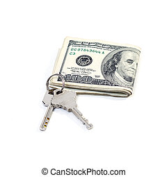 Dollar with a key lock isolated on white background