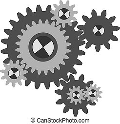 Set working cogs, gears on white background