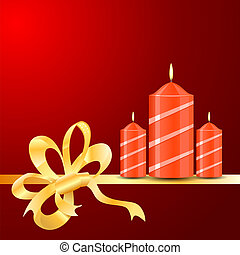 Vector burning Candles of ribbon on the red background