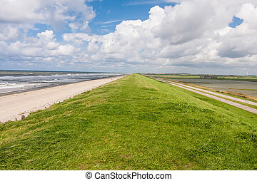 On the Levee at the North Sea - Levee at the North Sea in...