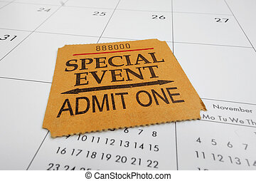 ticket stub - closeup of a Special Event ticket stub on a...