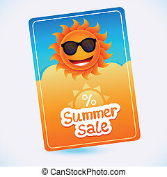 Vector summer sale coupon - sun and discount - abstract...