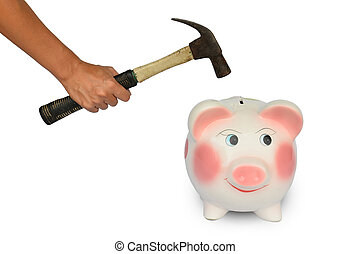 Piggy bank and hand with ?hammer isolated - Piggy bank and...
