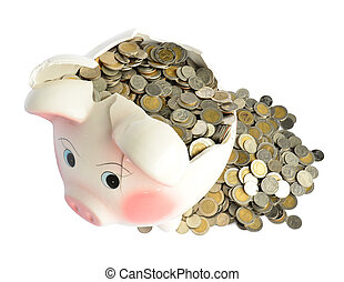 Pink piggy bank broken with money isolated on white...