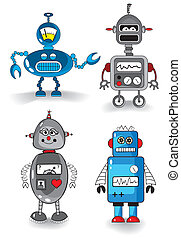 Robots set - Set of four cute robots, vector illustration