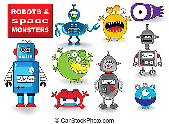 Set of Monsters and Robots - Set of Cute Robots and...