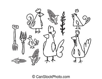Chickens and hens collection - Drawinf of chickens and hens...