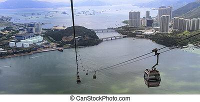 lantau island hong kong - aerial view from cable car at...