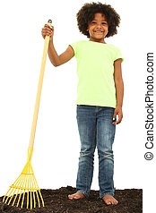 Beautiful Black Girl Child with Rake Standing in Dirt in...