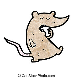 cartoon yawning rat
