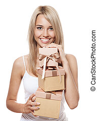 Young happy woman with a many gifts