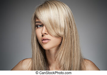 Beautiful Blond Girl Healthy Long Hair