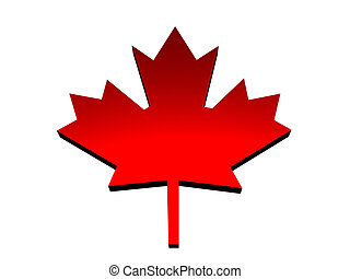 Three-dimensional red maple leaf. - Beautiful...