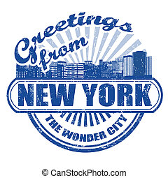 Greetings from New York stamp - Grunge rubber stamp with...