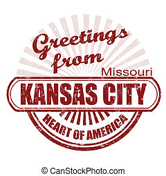 Greetings from Kansas City stamp - Grunge rubber stamp with...