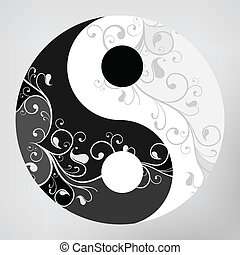 Yin yang pattern symbol on grey background, vector...