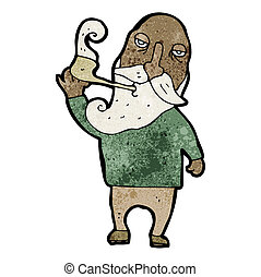 cartoon old man smoking pipe
