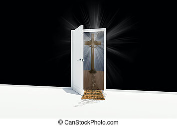 open door to cross on a hill - White door open to a cross on...