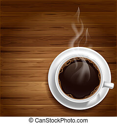 Coffee background - Cup of hot coffee on a wooden table