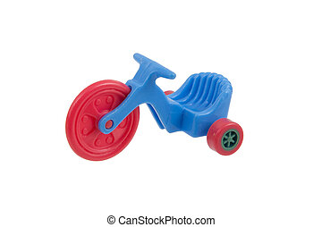 Small blue tricycle toy, isolated on white