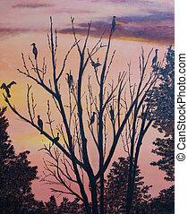 sok, festmény, madarak