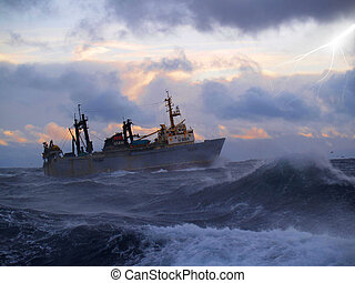 Ship in storm - Cathing ship in storm sea