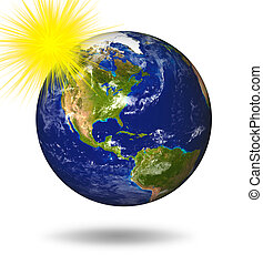 3D Earth Planet in blue sun - 3D Model of Earth Planet...