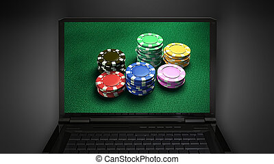 gambling chip is display on laptop screen