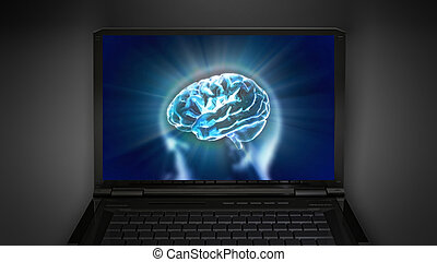brain theme is display on laptop screen