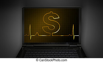 dollar sign theme is display on laptop screen