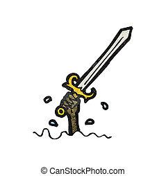cartoon sword rising from water