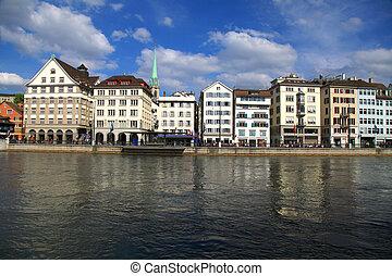 Zurich cityscape and river Limmat, Switzerland .