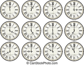 vintage clocks hour set - vintage clocks isolated on white...