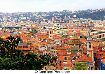 Tile roofs of Nice(France), view from above - Cityscape with...