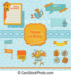 Scrapbook Design Elements - ?ute Birds - in vector