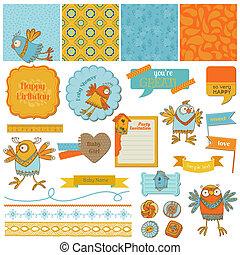 Scrapbook Design Elements - ?ute Birds - in vector