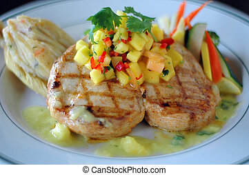 Entree - Grilled Chicken Breast with Tamale, Rice and...