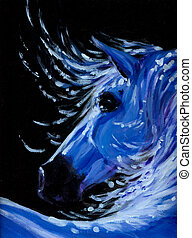 Horse - Portrait of blue horse acrylic paintedPicture I have...