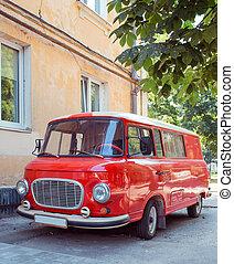 Retro car minivan in the outdoor