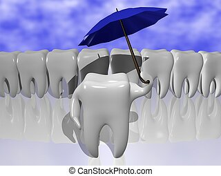 Tooth protection - Cartoon of a tooth protecting himself...