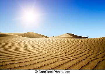 Gold desert into the sunset Canary Islands, Canaries Grand...